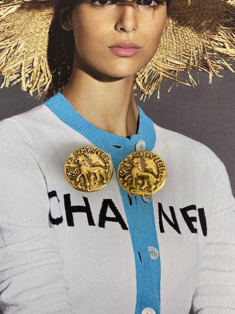 Chanel Lion Earrings