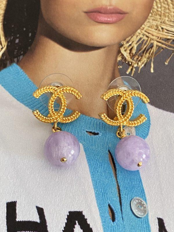 Chanel Lilac Earrings